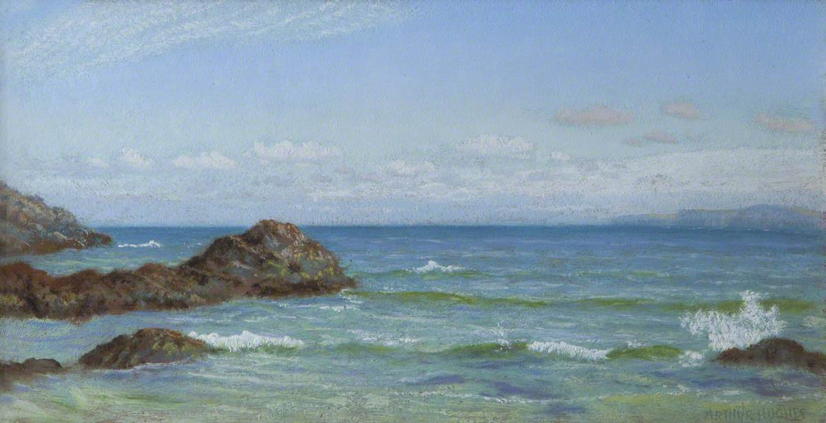 Seas Breaking on Rocks, with a Distant Coastline