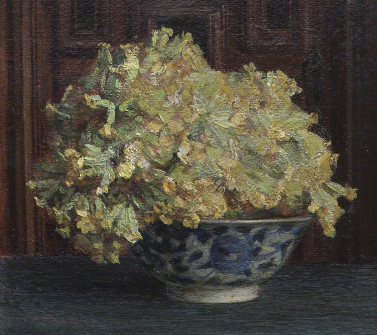 Cowslips in a Blue and White Bowl