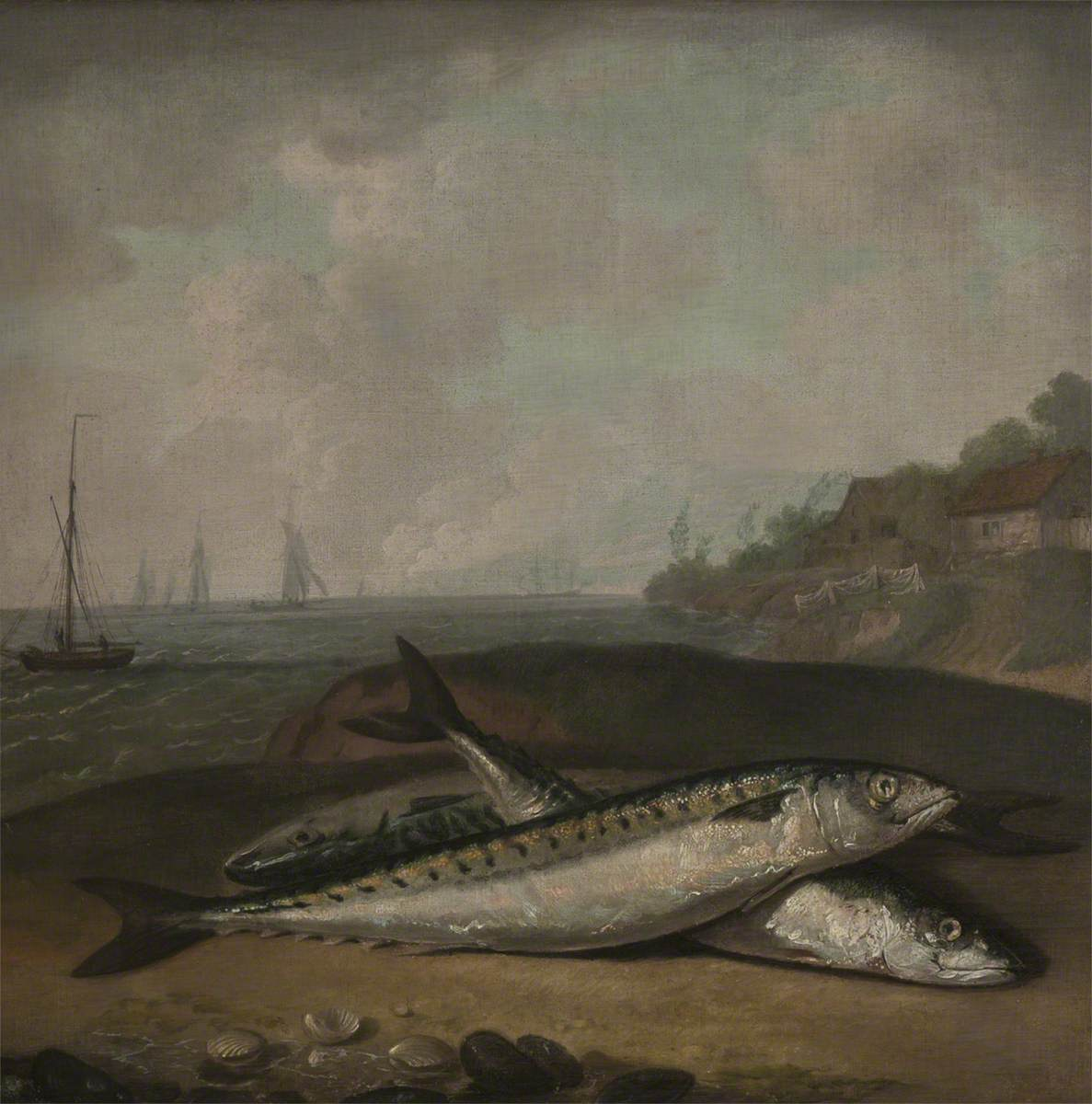 Mackerel on a Dorset Shore with the Golden Cap (near Bridport) in the Background (?)