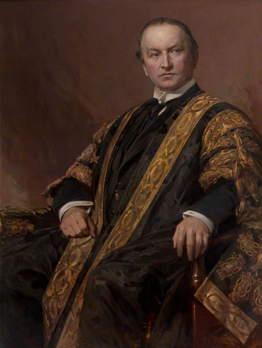 George Nathaniel Curzon (1859–1925), 1st Marquess Curzon of Kedleston, KG, GCIE, PC, MP, in the Robes of Chancellor of Oxford University