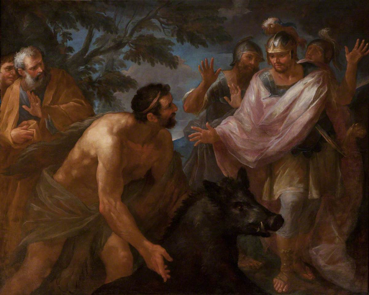 Hercules Terrifying King Eurytheus with the Erymanthian Boar