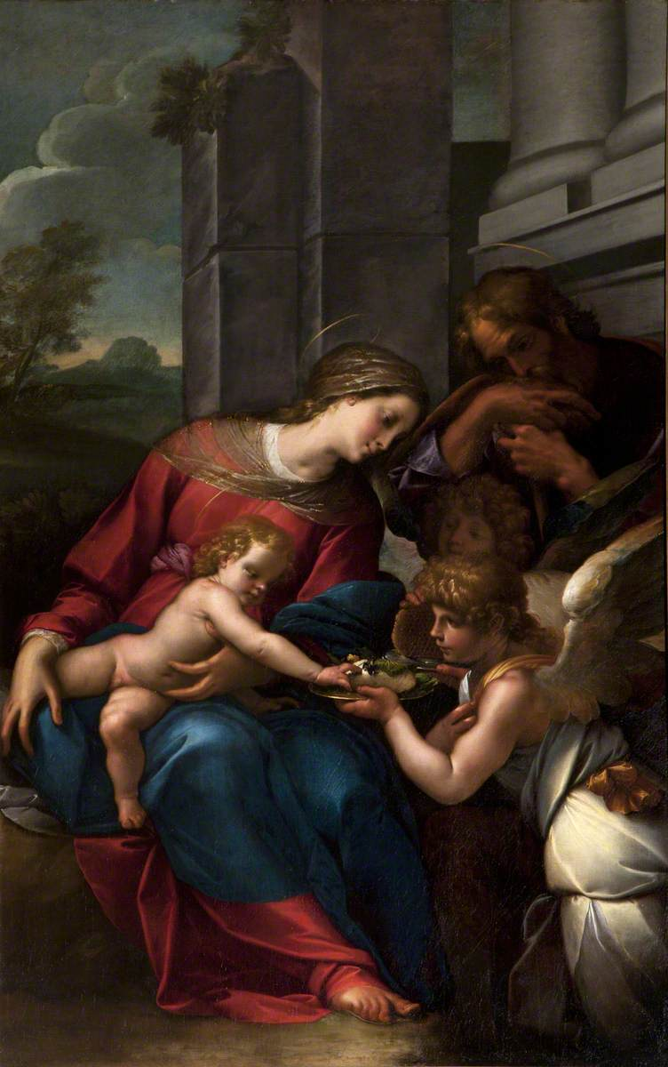 The Holy Family with an Angel Offering a Honeycomb to the Christ Child