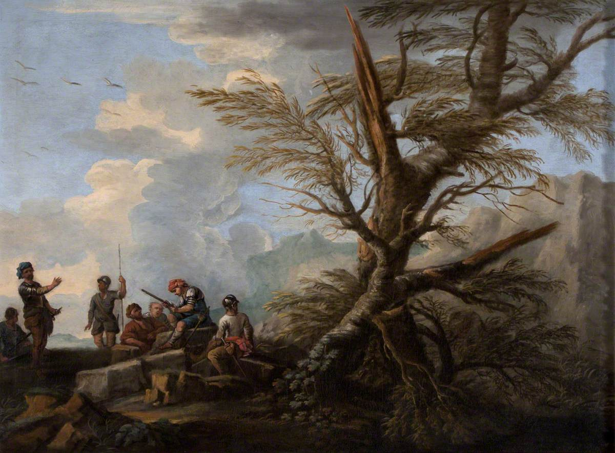 Landscape with Soldiers under Trees