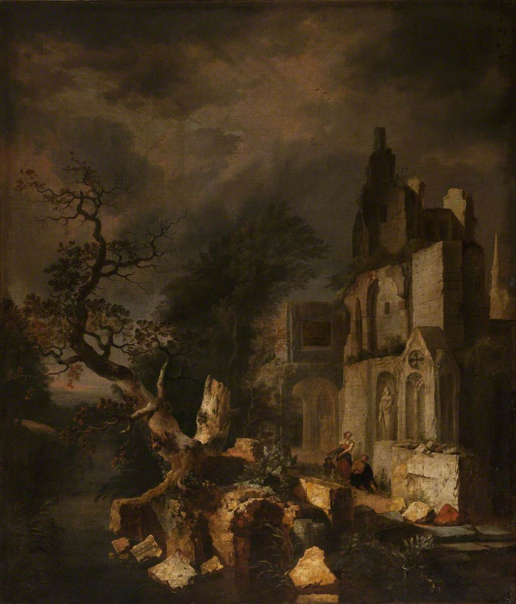 Landscape with Ruined Buildings and Figures