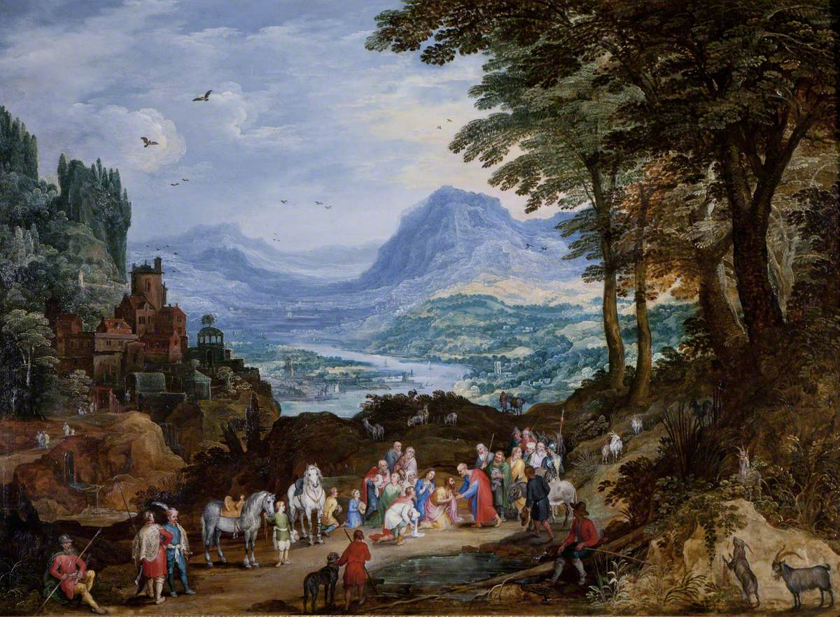 A Mountainous Road Scene with the Story of Saint Peter and Cornelius
