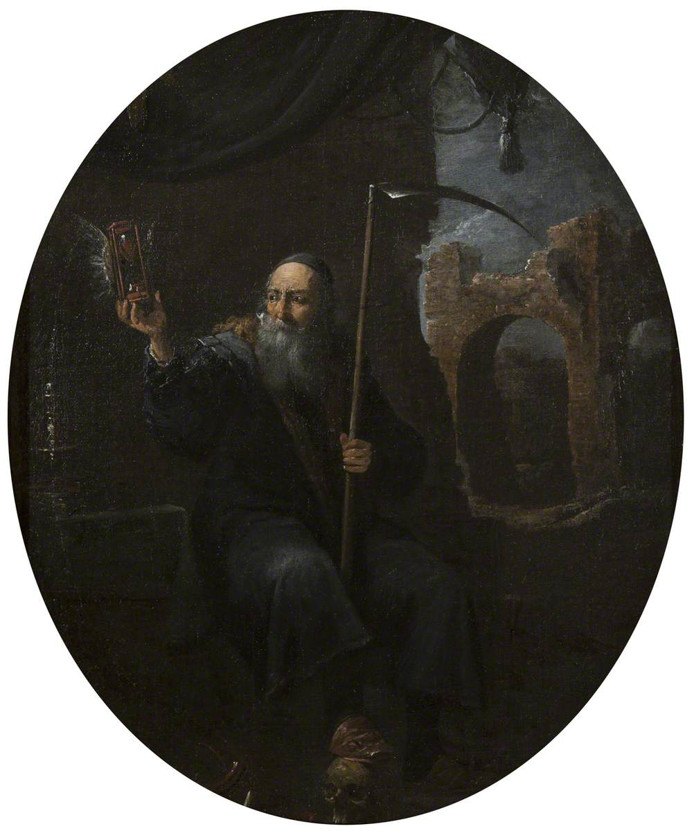 Time as an Old Man with a Scythe and a Winged Hourglass