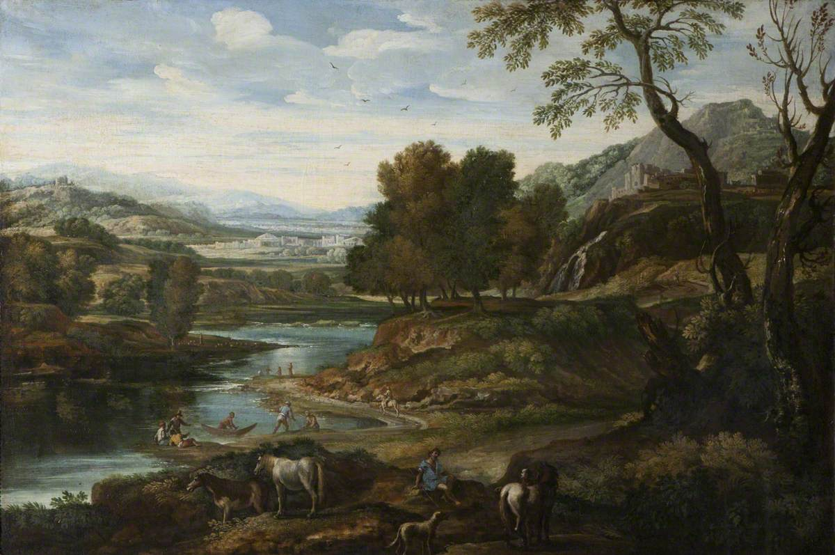 A Hilly River Landscape with Figures and Animals in the Foreground
