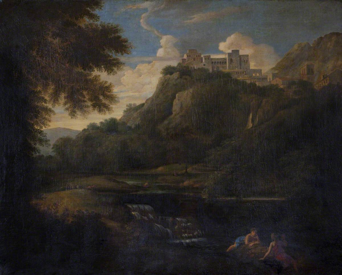 Landscape with Figures and Cattle by a Stream with a Castle in the Distance