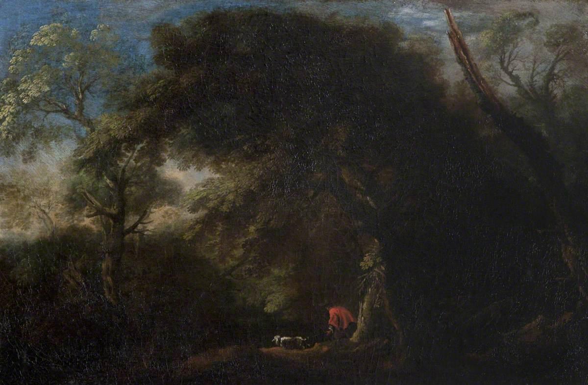 Wooded Landscape with Huntsmen and a Dog