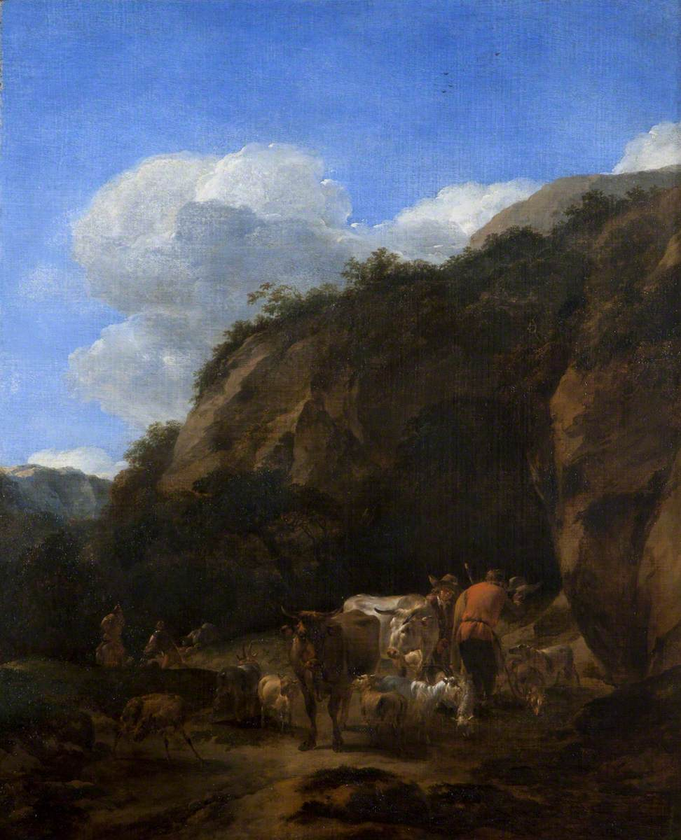 A Hilly Landscape with Herdsmen, Cattle and Sheep