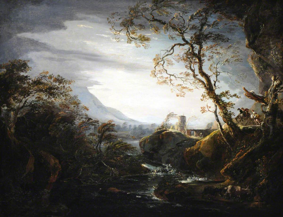 An Italianate Rocky Landscape with Travellers in a Storm