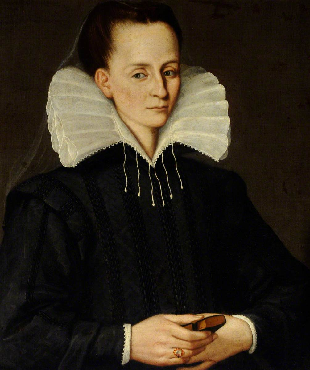 Portrait of an Unknown Lady in Black with a Splayed Collar