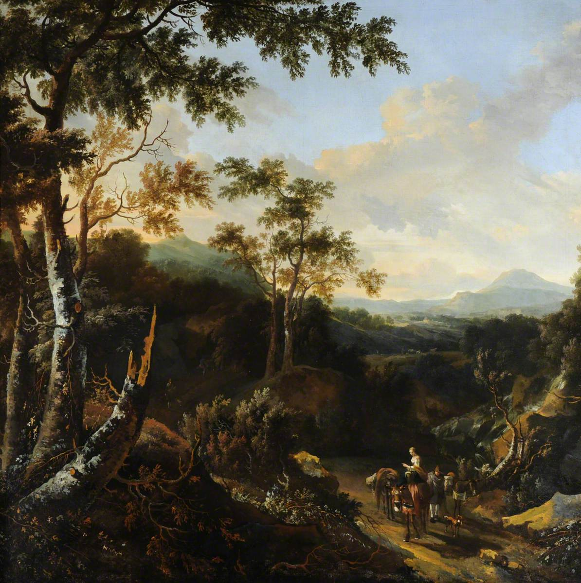 A Wooded Landscape with Peasants and Donkeys on a Path