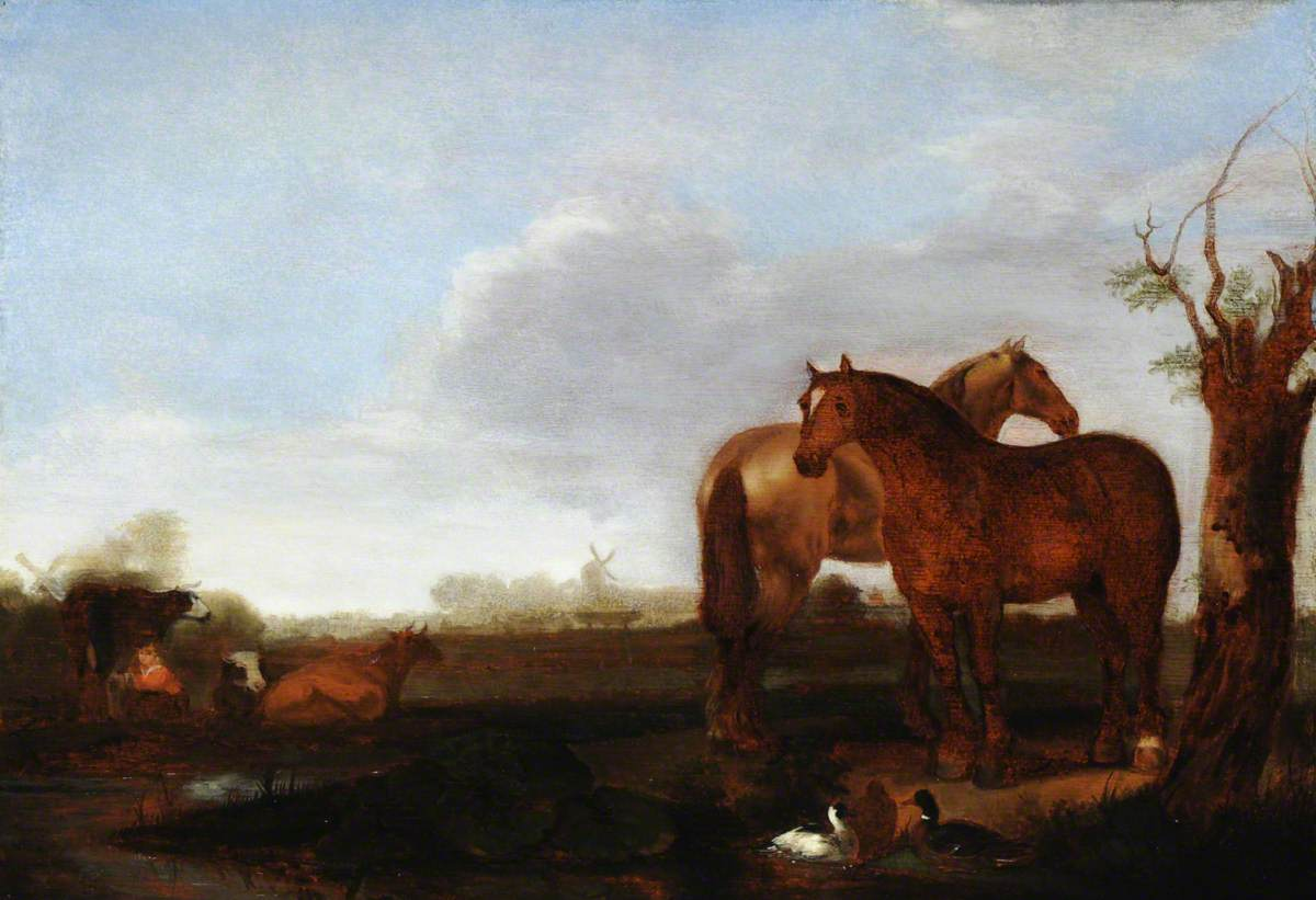 Meadow Landscape with Horses, Cows and Ducks