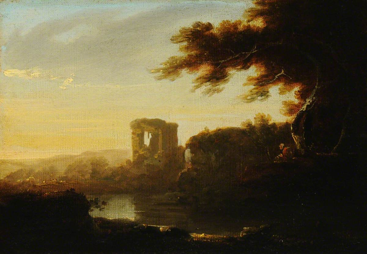 An Italianate Landscape with a Figure Seated by a River and a Ruin beyond