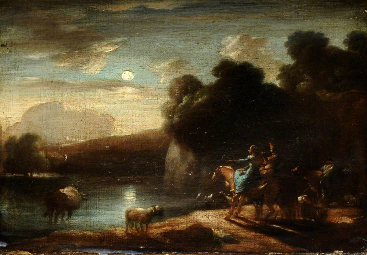 Moonlit River Landscape with Travellers on a Path