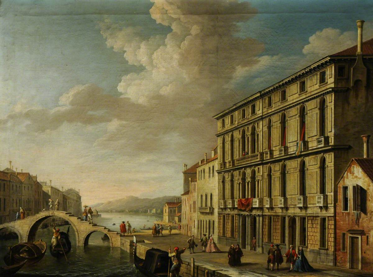 The Cannaregio with the Palazzo Suriano Bellotto and a Bridge