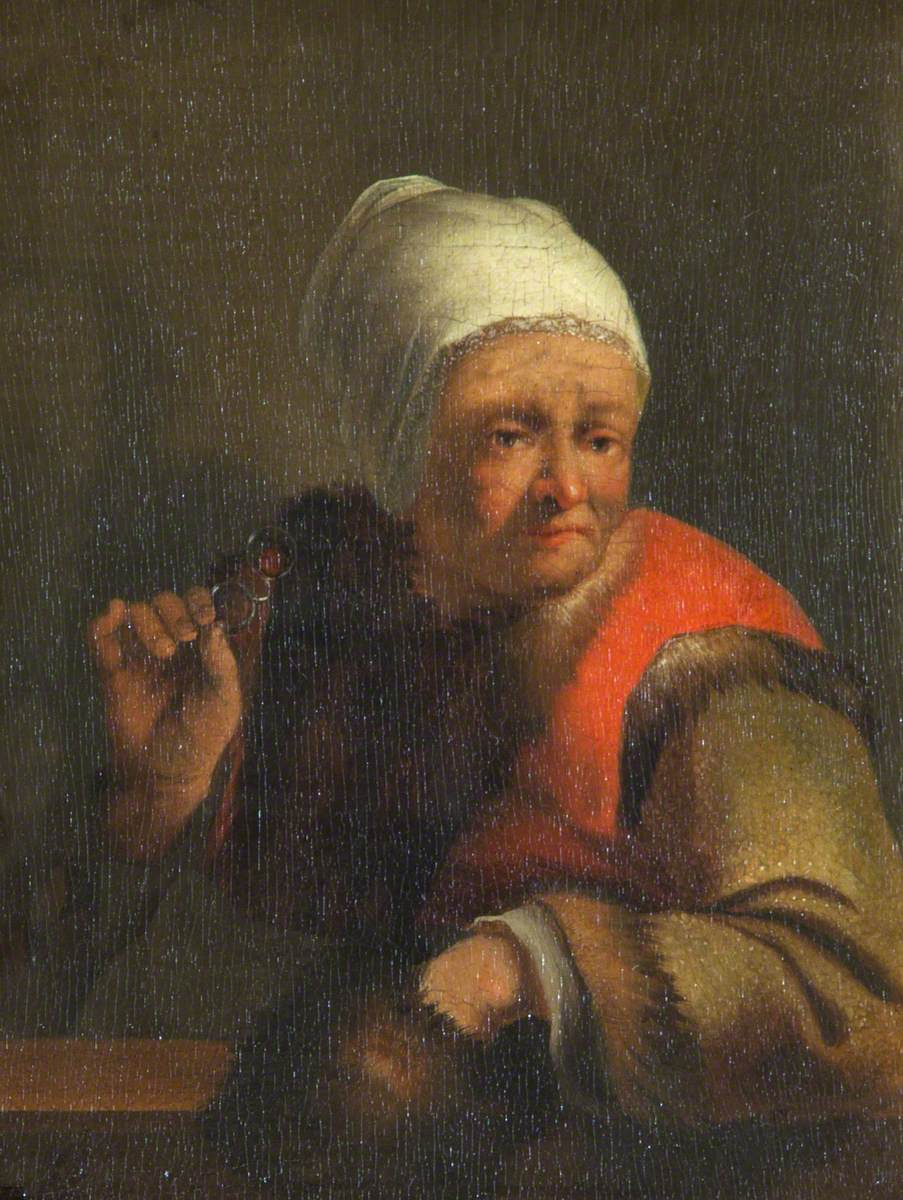 Portrait of an Old Lady Holding a Fur Muff and Spectacles