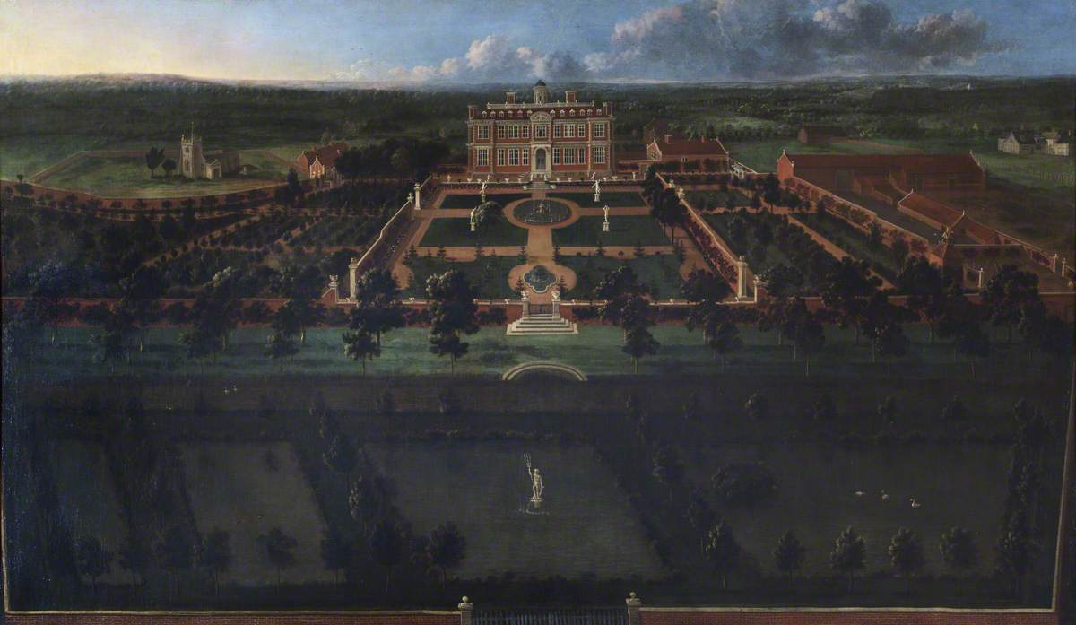 Bird's Eye View of Sudbury Hall: South Front and Its Formal Gardens