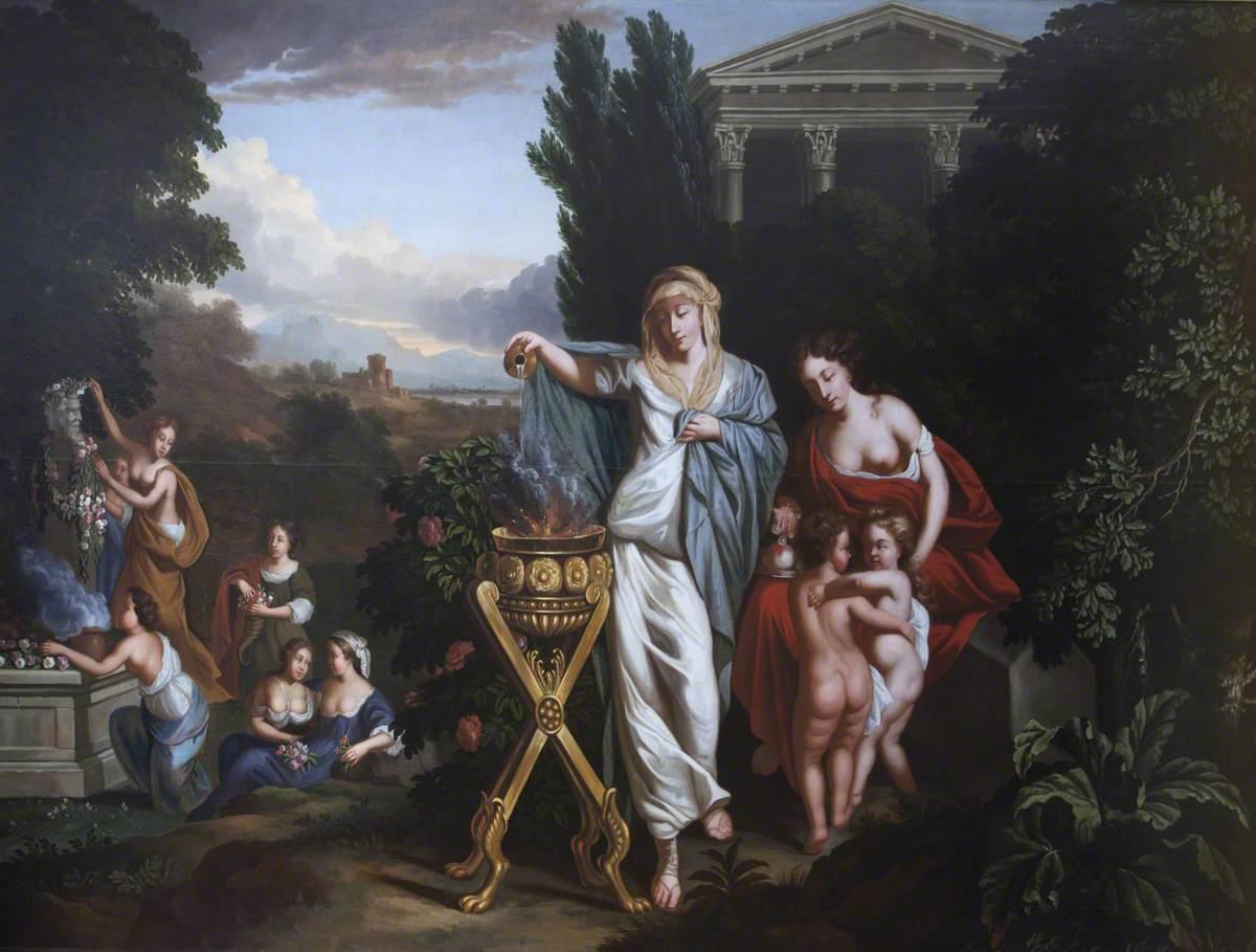 Women Sacrificing and Garlanding a Janus Herm