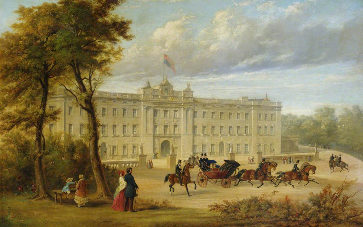 Buckingham Palace (before the Aston Webb facade), with an Open Carriage Leaving the Palace