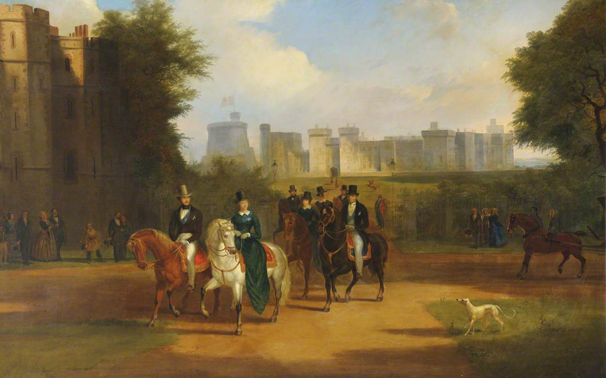 Windsor Castle with Queen Victoria, Prince Albert and Arthur Wellesley, 1st Duke of Wellington, Riding from the Castle