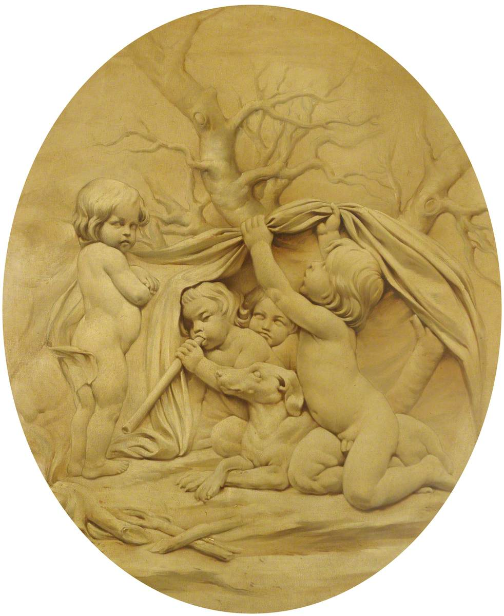 The Four Seasons: Winter, Putti Sheltering by a Fire