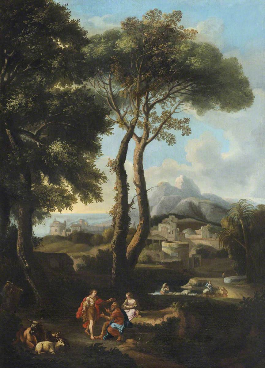 A Classical Landscape with Two Figures Greeting One Another, Cattle, and a Town beyond