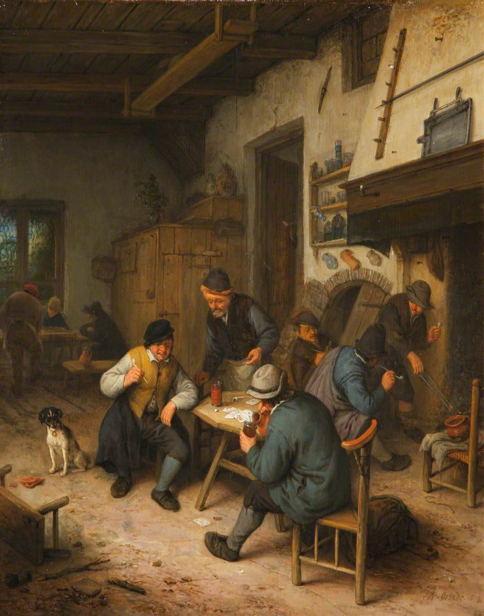 The Interior of an Inn with Peasants Playing Cards