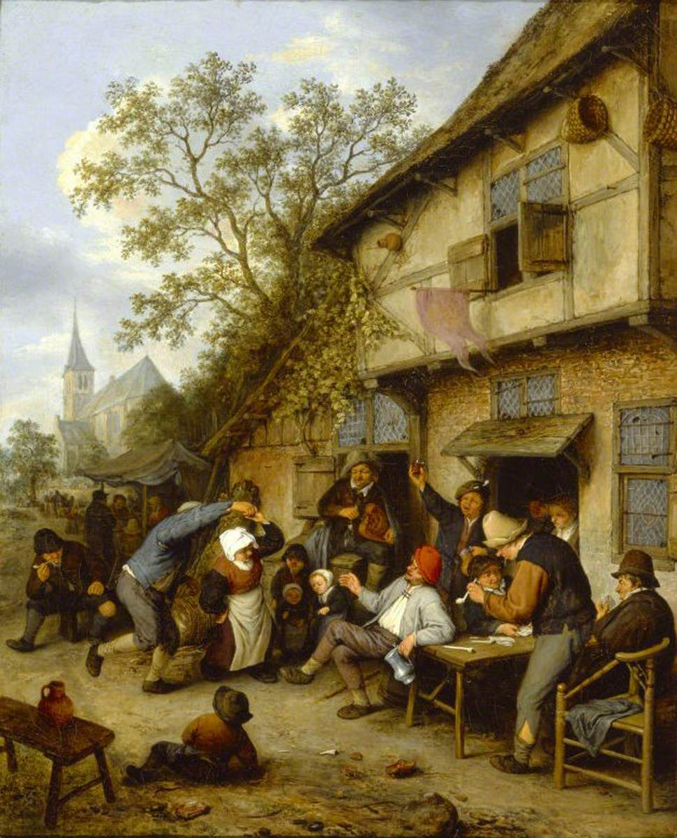 Peasants Carousing Outside of an Inn