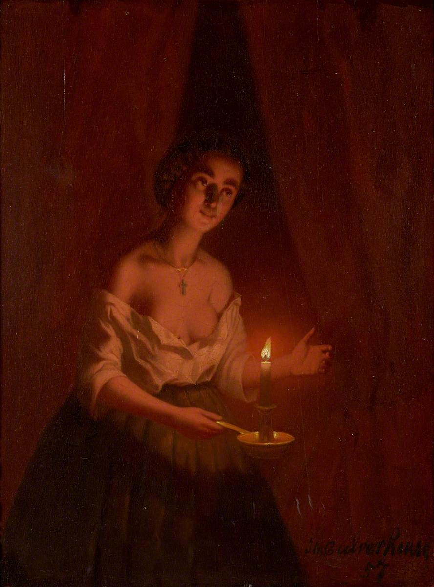 A Young Lady Holding a Lighted Candle in a Chamber Candlestick