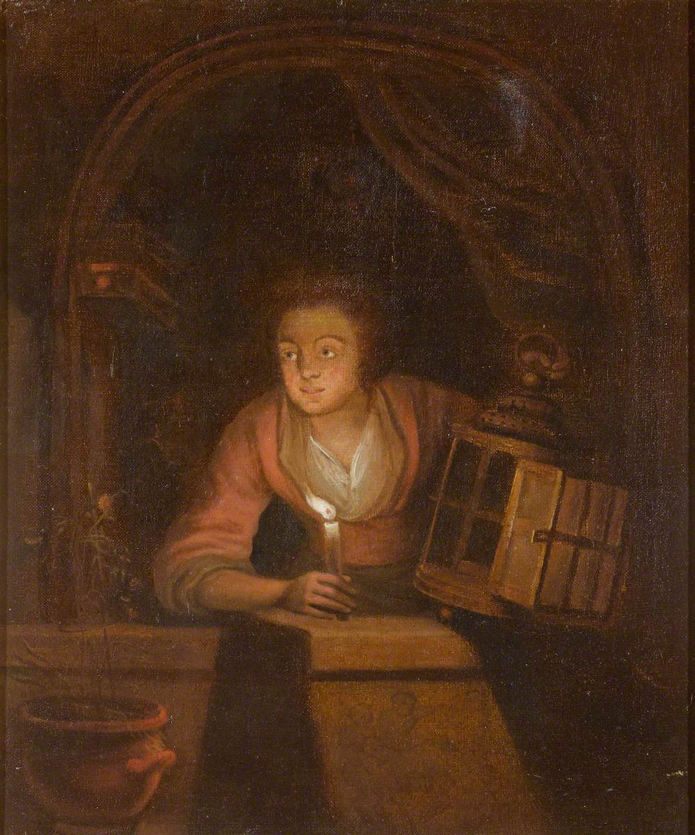 A Woman Holding a Candle and a Lantern at a Window