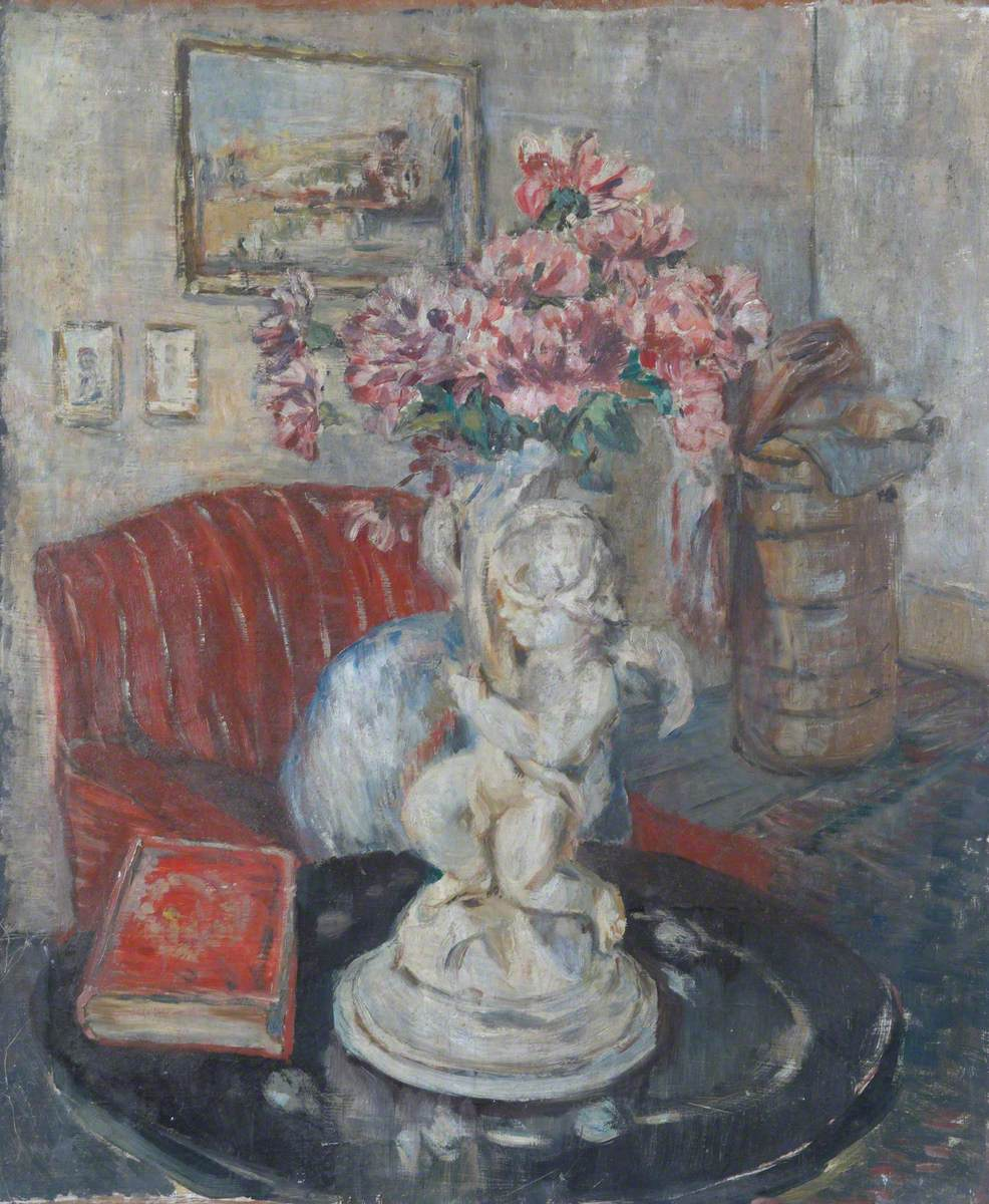 View of a Room with a Statuette of a Cupid Holding Pink Flowers