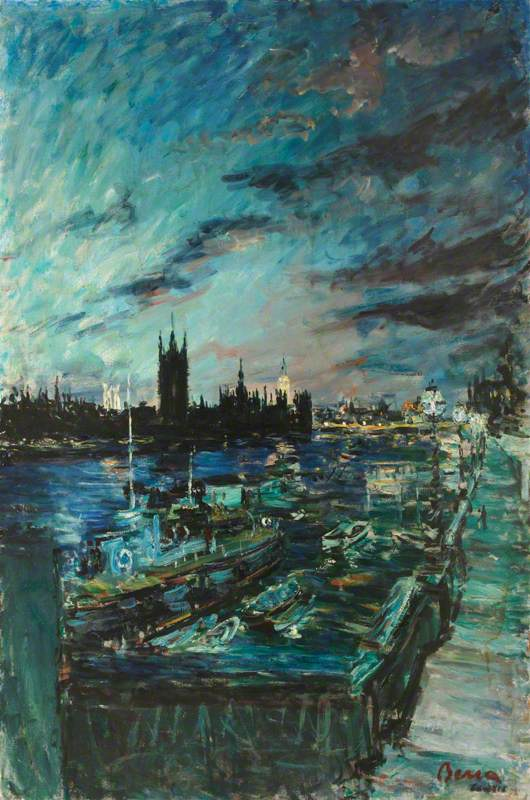 Dusk on the Thames at Westminster