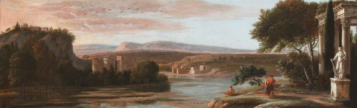 River Landscape with Classical Ruins and a Castle