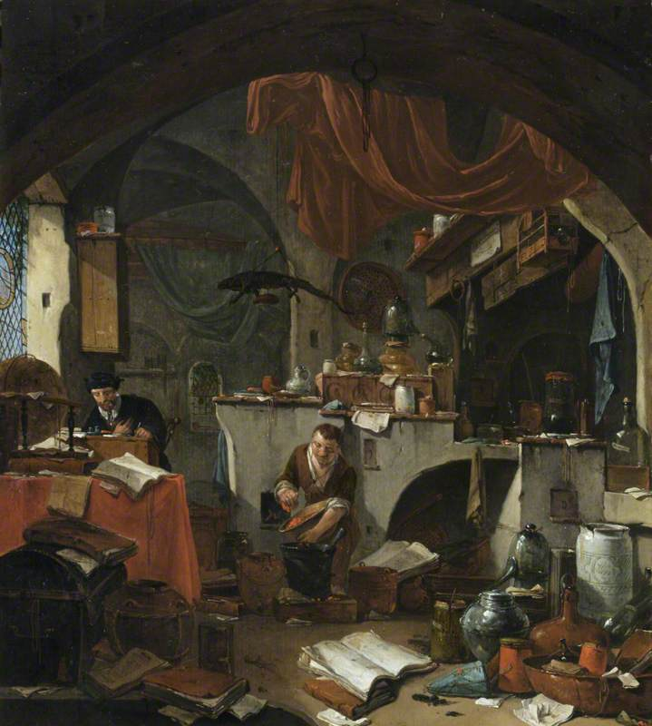An Alchemist in His Laboratory, with an Assistant