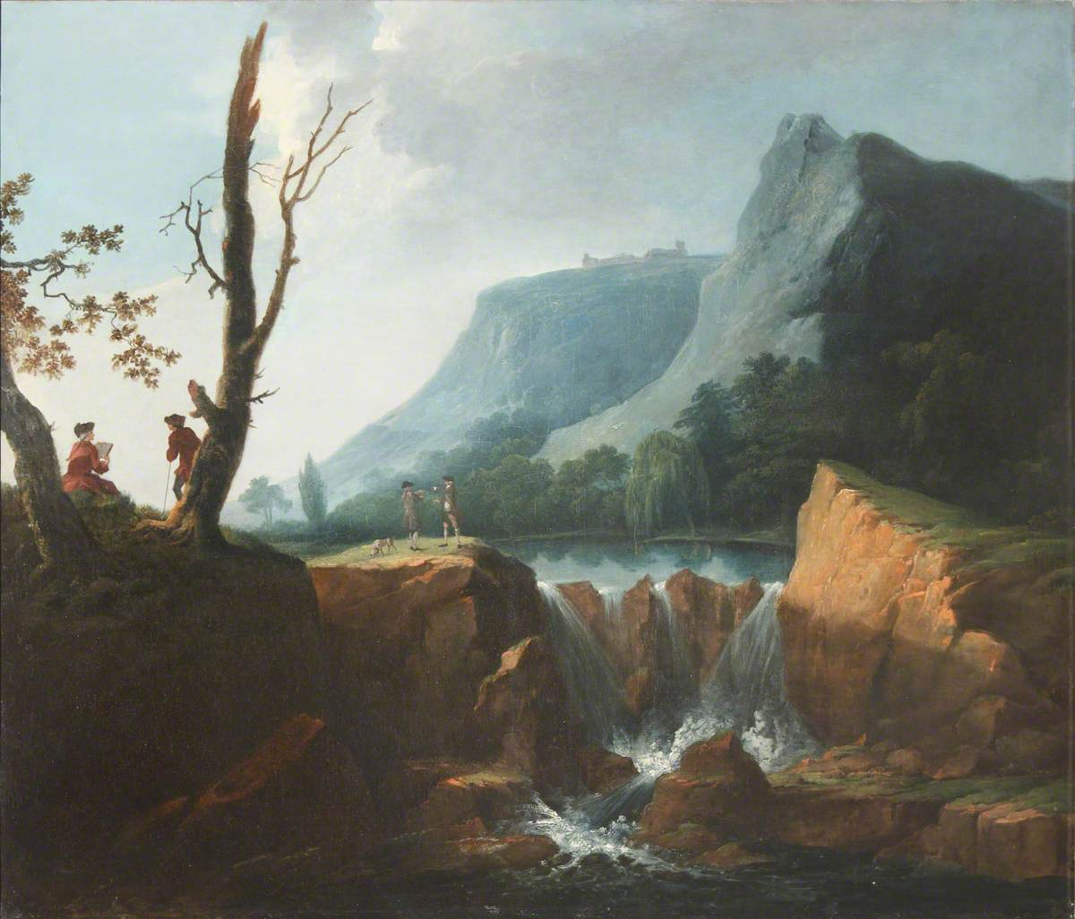 Mountainous River Landscape with Elegant Figures by a Waterfall