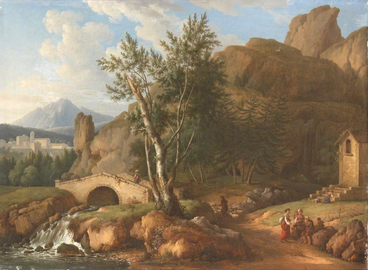 A Mountainous River Landscape with a Traveller on a Bridge and a Beggar Receiving Alms