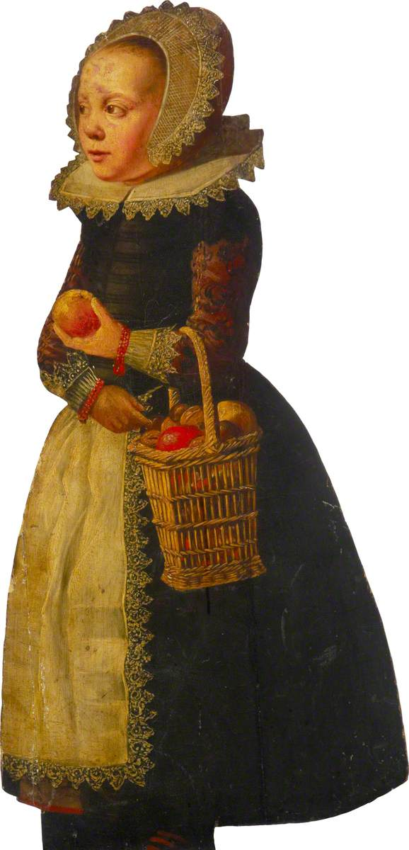 A Girl with a Basket of Apples
