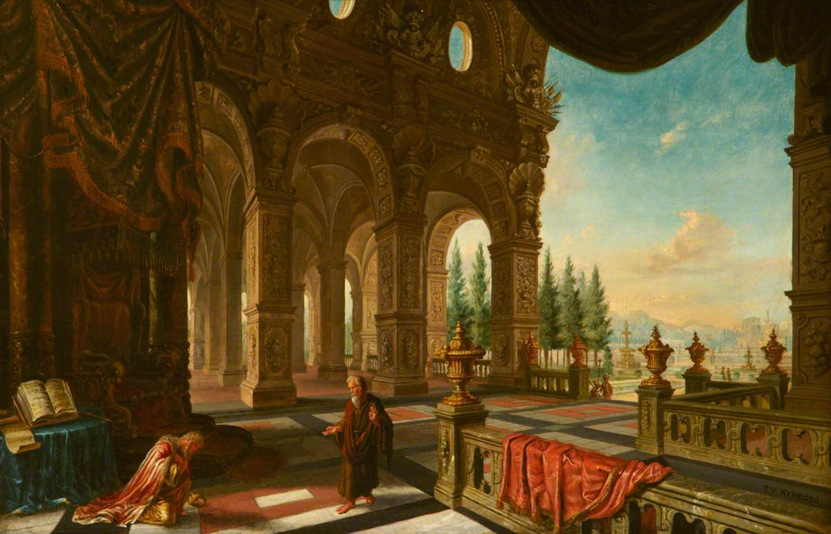 David Kneeling in His Palace before the Prophet Nathan
