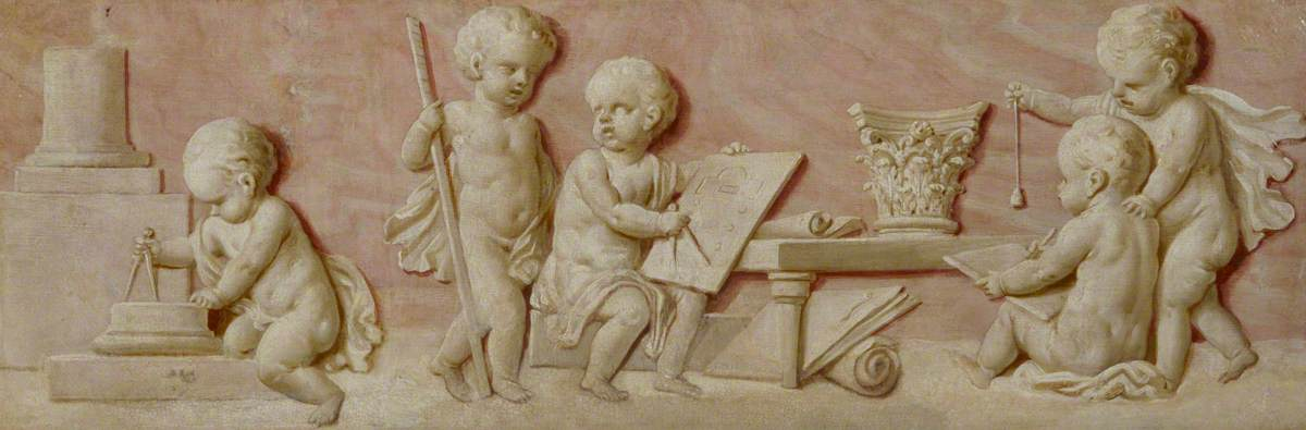 Putti with Symbols of Architecture