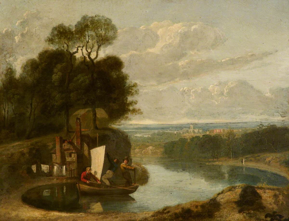 Three Boys in a Sailing Boat on a Lake with Durham (?) in the Distance