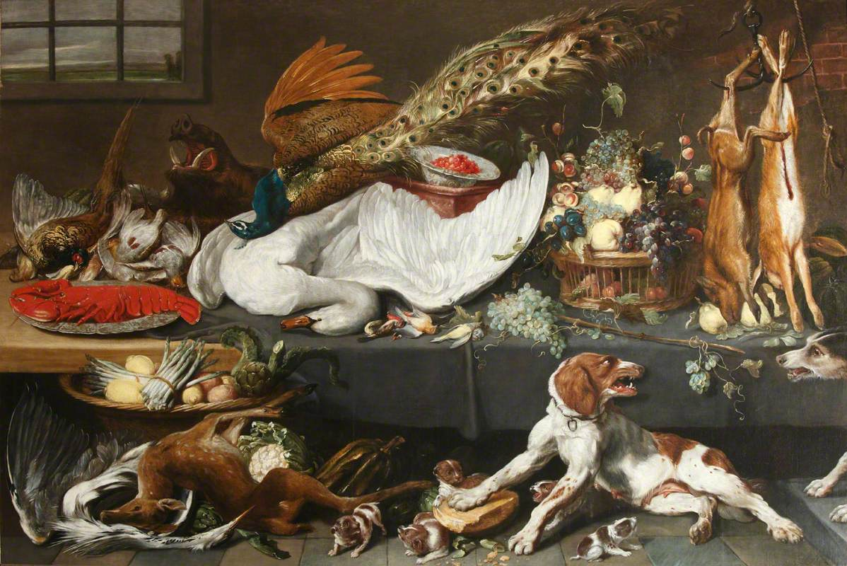 Larder with Dead Game, a Swan and a Lobster, Fruit, Vegetables and a Pointer Bitch Defending Her Puppies