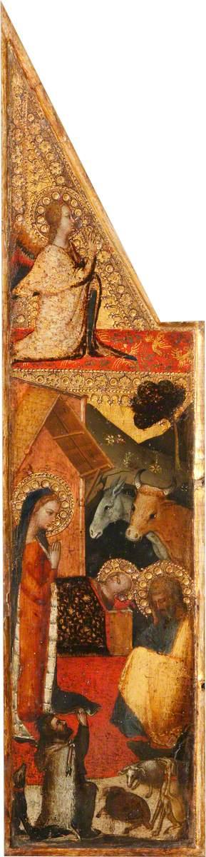 The Nativity (below); the Archangel Gabriel (above)