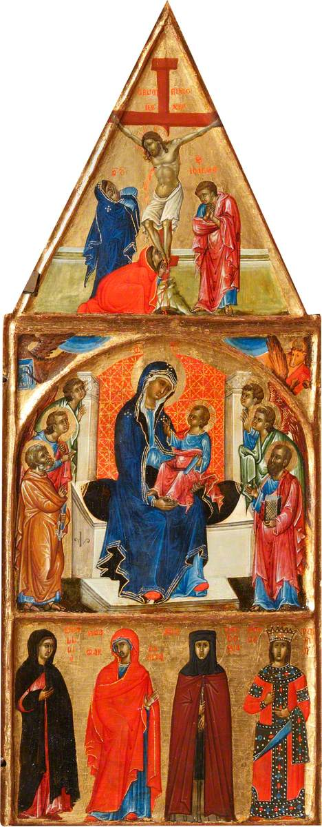 The Madonna and Child Adored by Saint Peter and Saint Paul and Four Angels; the Crucified Christ with the Virgin, the Magdalen, and Saint John; Two Evangelical Beasts; and a Sibyl, Saint Margaret, Theodosius and King David