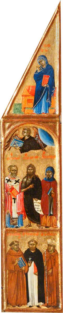 Saint John the Baptist between Saint Nicholas and Saint Jerome, and the Beast of Saint John the Evangelist; the Virgin Annunciate; Saint Dominic between Saint Francis and Saint Louis of Toulouse
