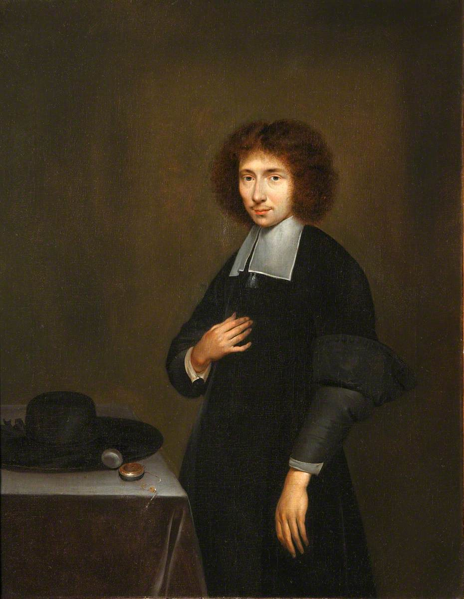 Portrait of an Unknown Man in Black, with a Hat and Watch on a Table