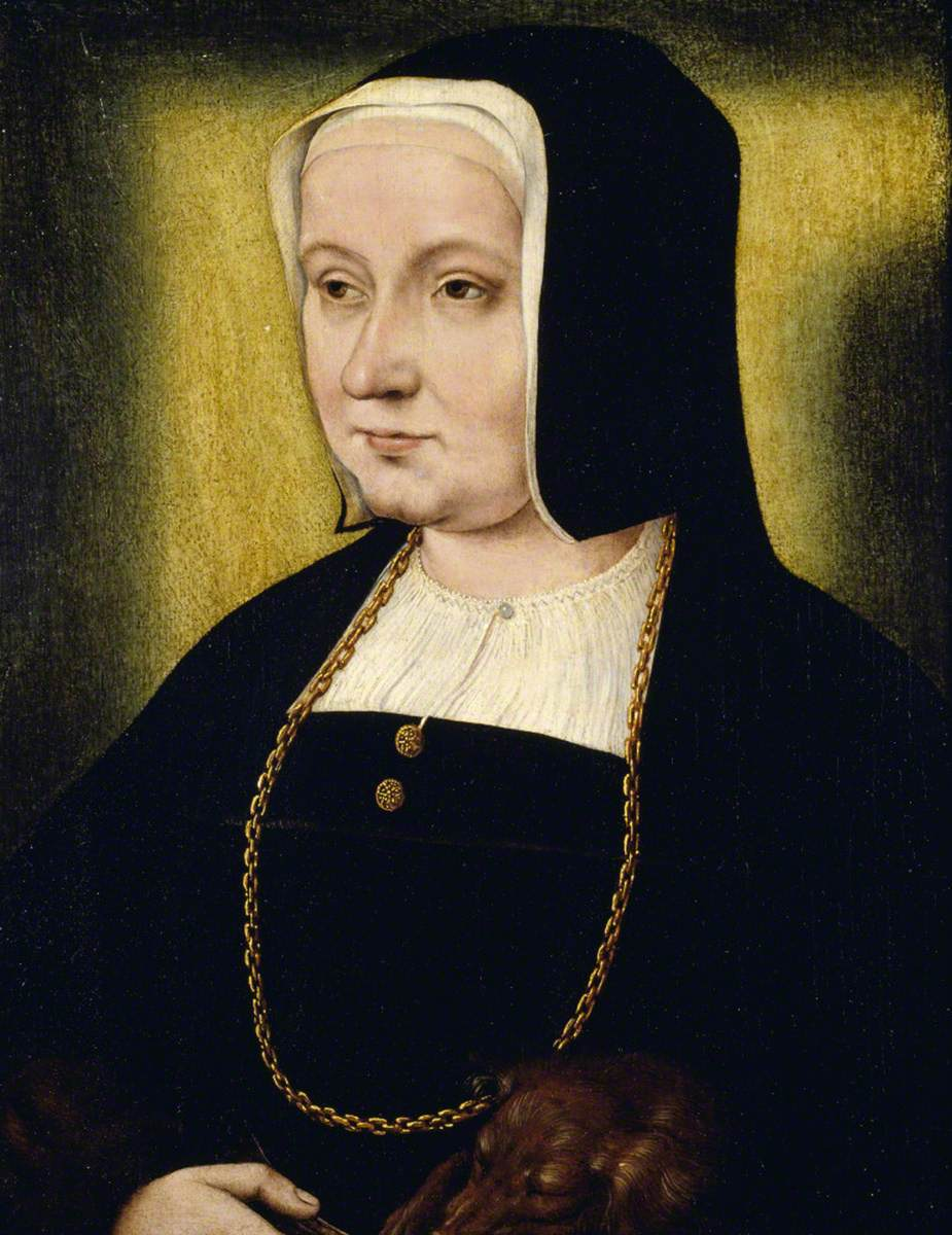 Portrait of an Unknown Woman in Black, with a Dog