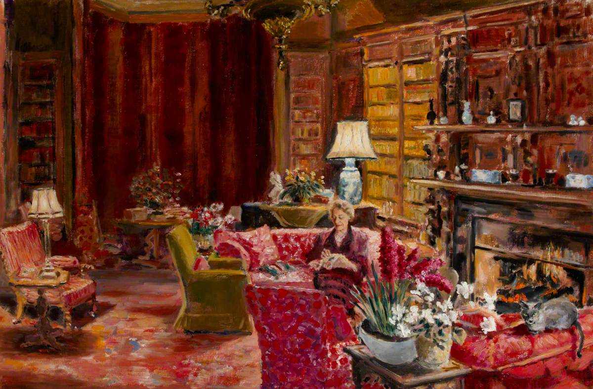 Elizabeth (Betty) Smiley (1907–2006), Mrs Christopher Hussey, in Old Age, in the Library at Scotney