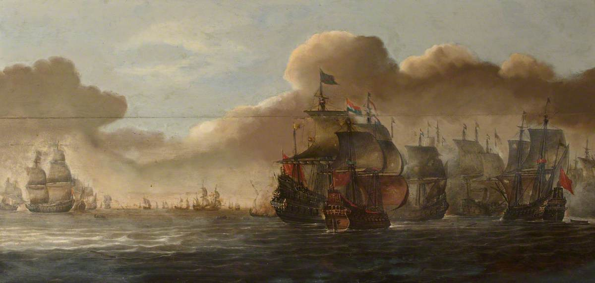 Naval Battle with Dutch and Spanish (?) Ships